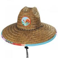 Flamingo 2 Coconut Straw Lifeguard Hat