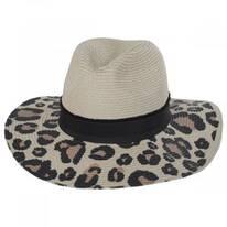 Animal Print Brim Toyo Straw Blend Fedora Hat