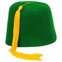 Green Wool Fez with Gold Tassel