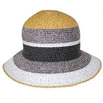Catherine Striped Toyo Straw Blend Cloche Hat