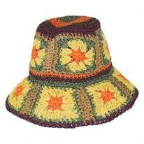 Fergie Granny Square Raffia Straw Bucket Hat