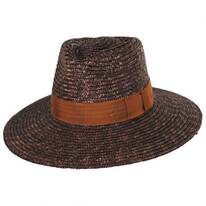 Joanna Brown/Tan Wheat Straw Fedora Hat