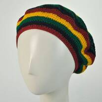 Rasta Crocheted Cotton Beret